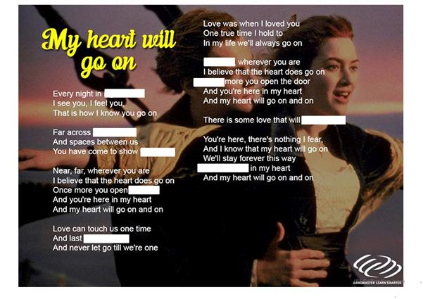 Song Worksheet - My heart will go on