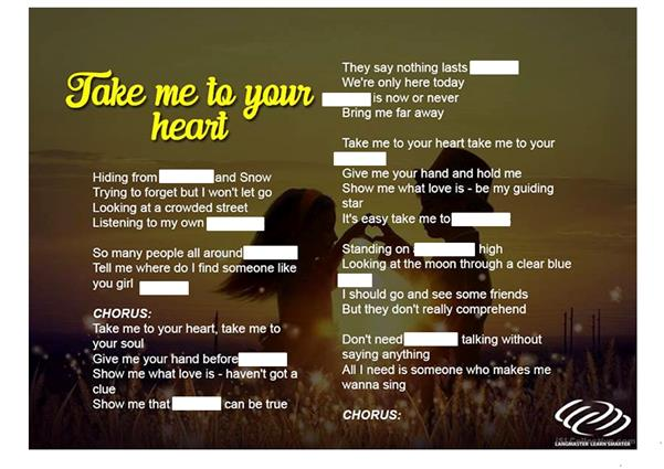 Song Worksheet - Take me to your heart
