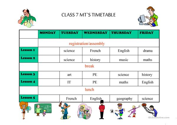Timetable with subjects