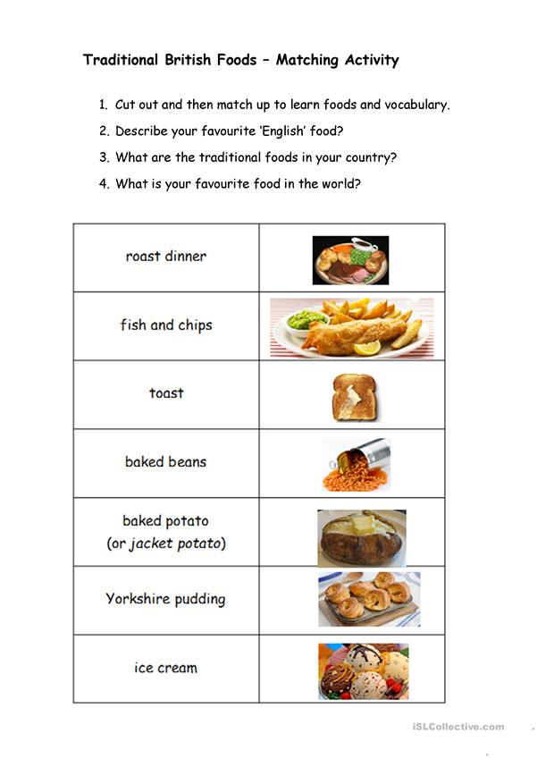 Traditional British Foods – Matching Activity