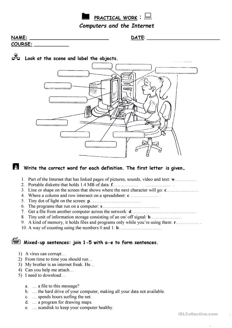 Computers and the Internet - English ESL Worksheets