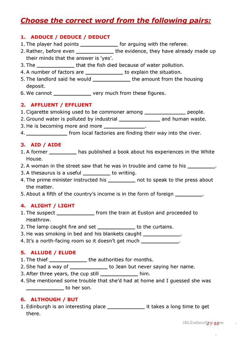 worksheet Thesaurus Exercise Worksheets confusing words part 9 worksheet free esl printable worksheets full screen