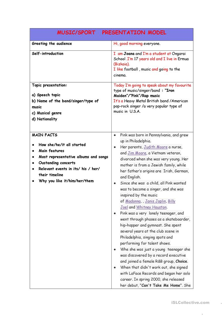 How To Structure A Speech On Music Worksheet Free Esl Printable