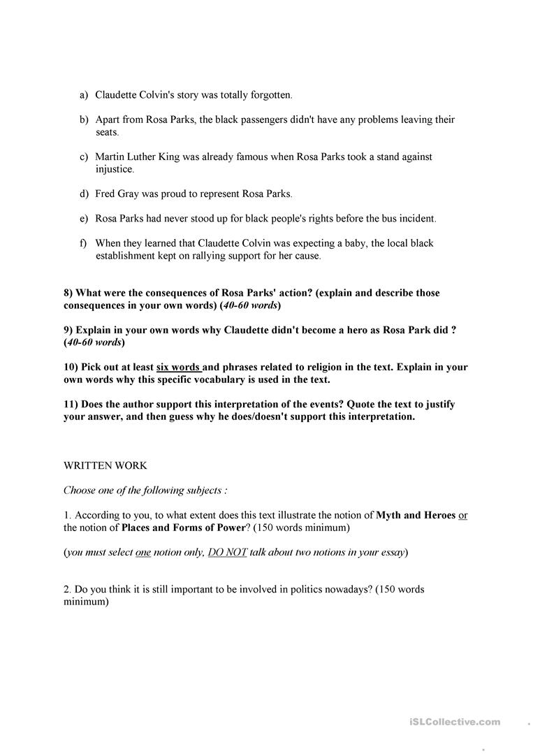 Worksheets Rosa Parks Worksheets rosa parks and claudette colvin civil rights movement worksheet full screen