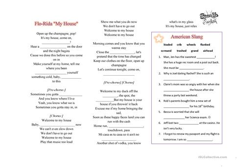 FloRida   My House Listening Song Worksheet Fill In The Blanks With  American Slang