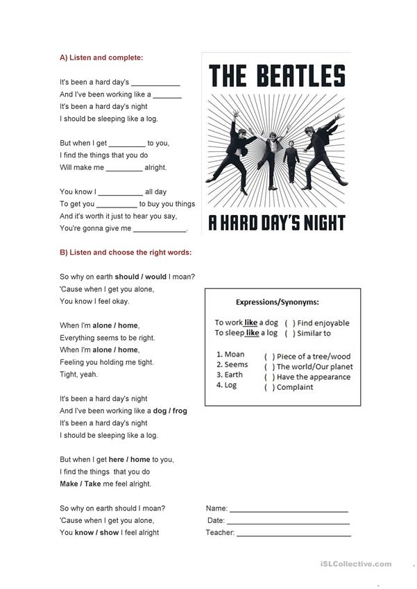 A hard day's night - The Beatles-song-activity