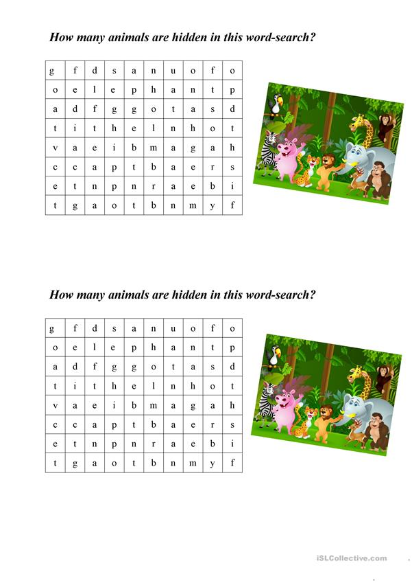 ABC animals wordsearch