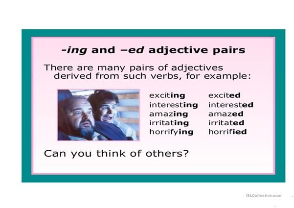 Adjective ending in -ed &-ing