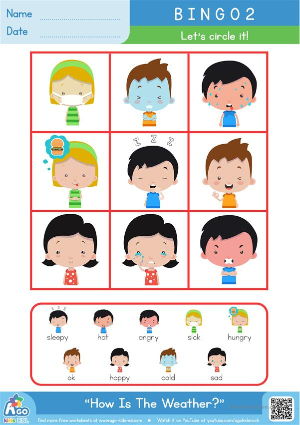 How are you? Bingo game for kids - feelings and emotions