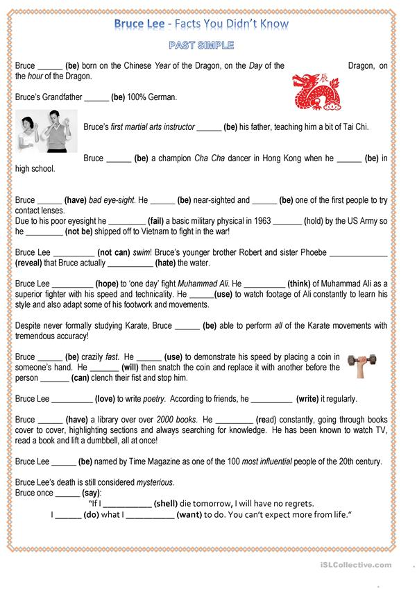 BRUCE LEE - LIFE LESSONS (reading + Past Simple) 4 pages