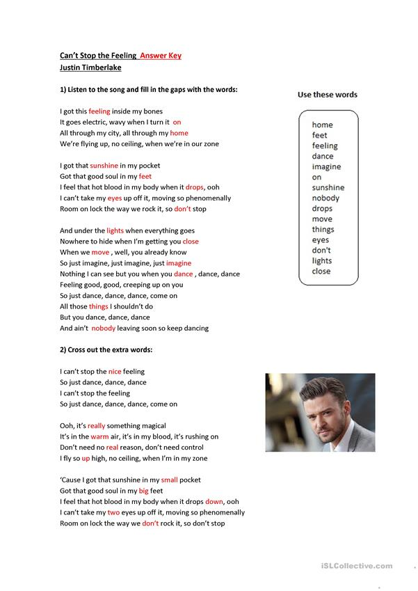 Can't stop the feeling -Justin Timberlake-song-activity