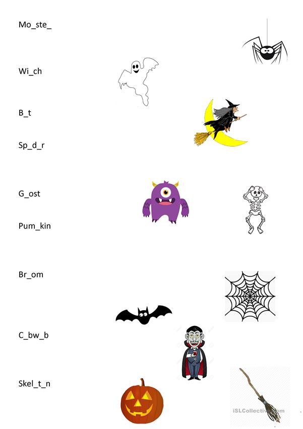 Halloween matching words