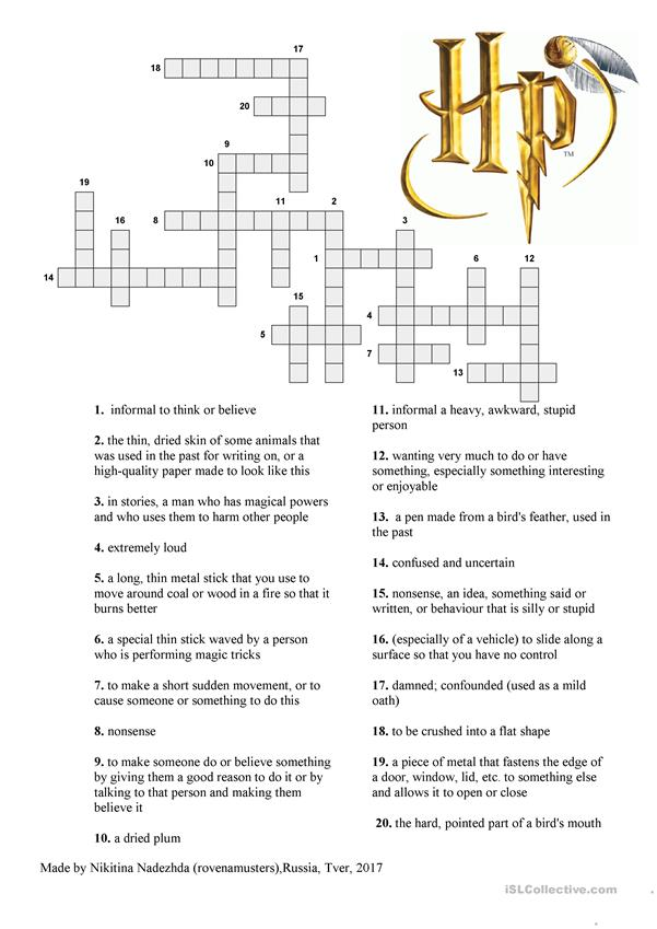 Harry Potter crossword for Chapter 4 of the Philosopher's Stone
