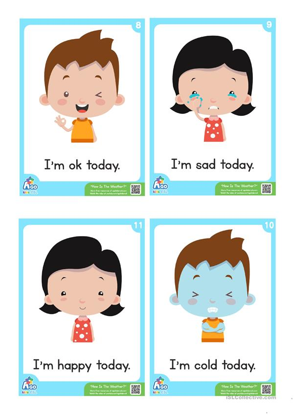 How Is The Weather? ESL Flashcard Set - Weather and Feelings Vocabulary