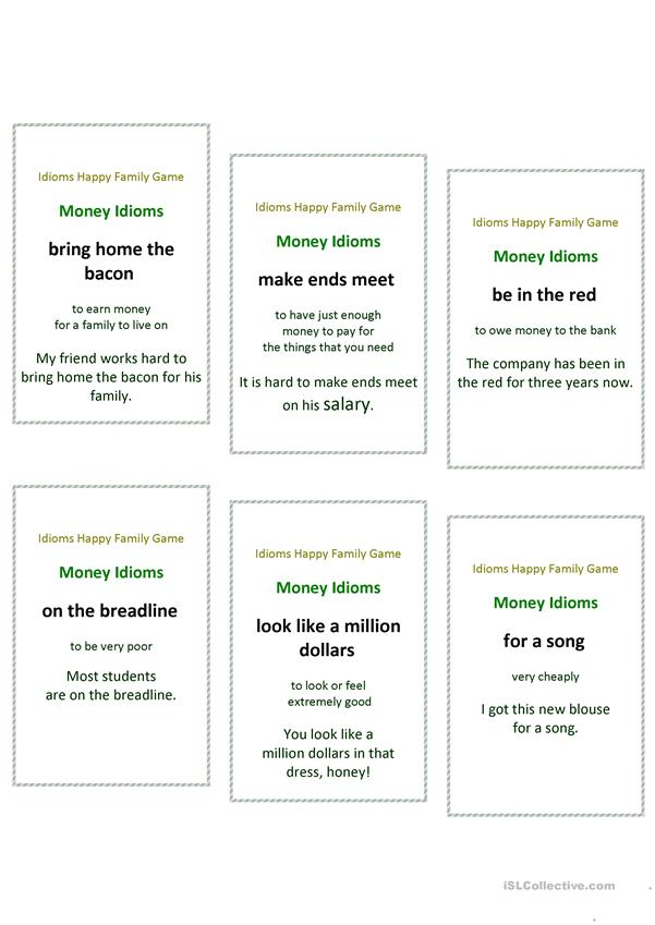 Idioms Happy Family Game English Version