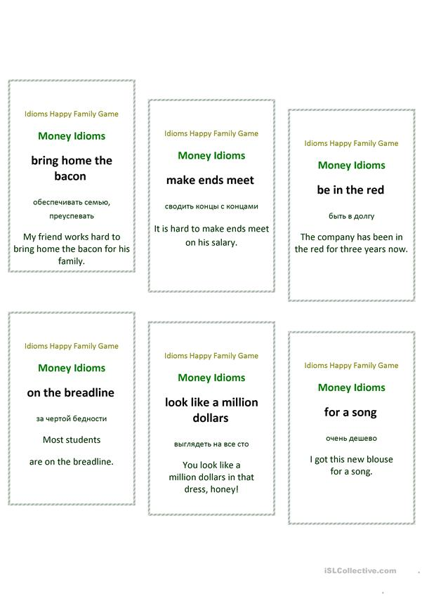 Idioms Happy Family Game