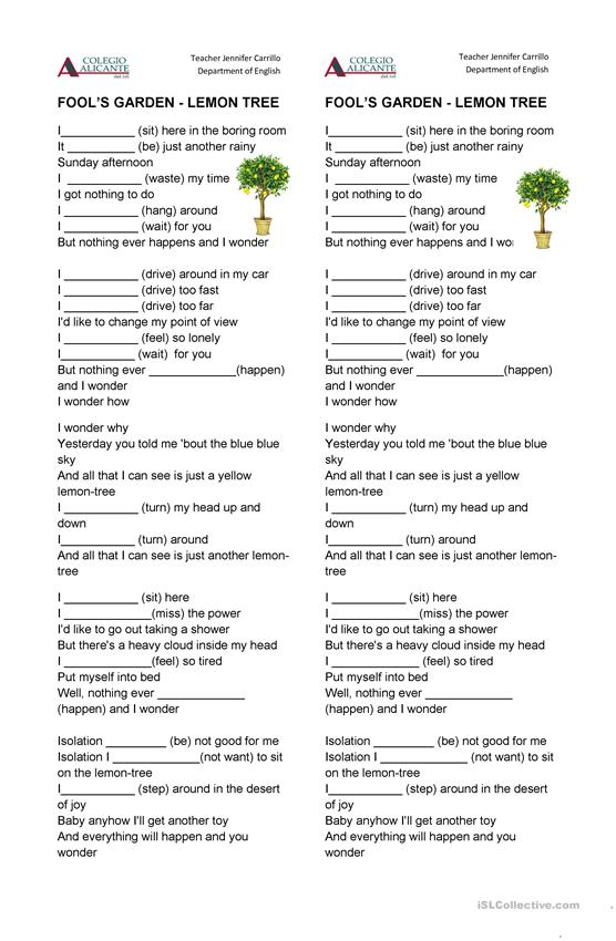 Lemon tree Song Worksheet