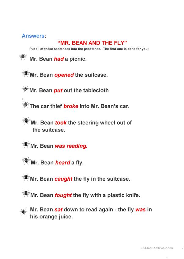 Mr. Bean and the Fly- present to past tense