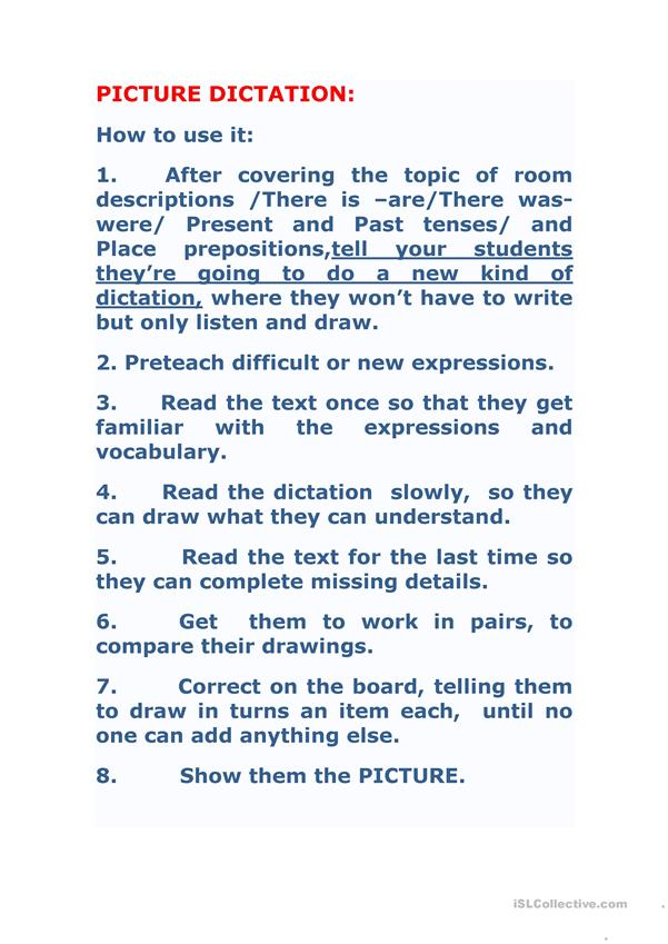 My bedroom lesson plan:picture dictation