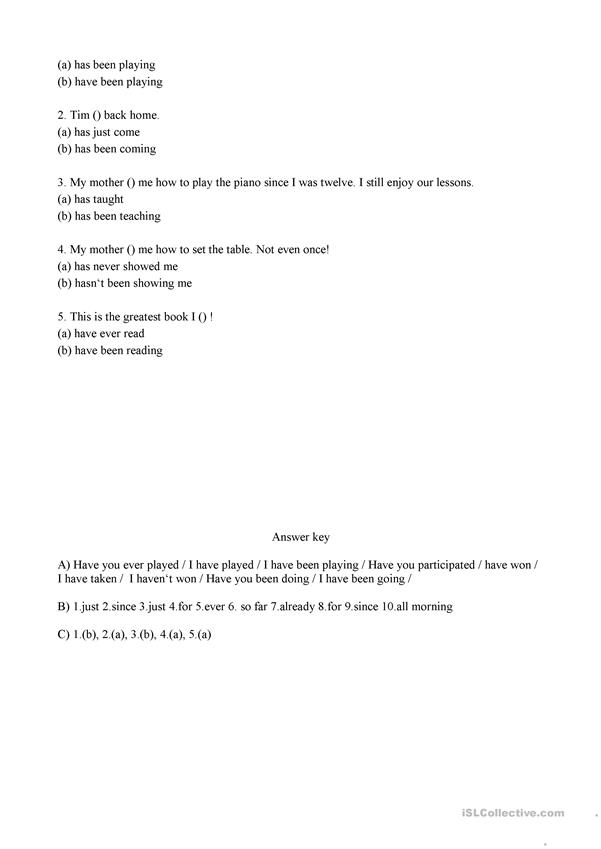 Present Perfect Simple OR Present Perfect Continuous Exercises Worksheet
