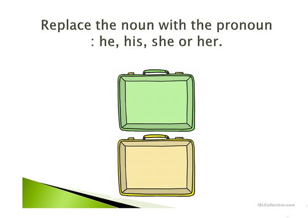 PRONOUNS HE AND SHE.  POSSESSIVE ADJECTIVES HIS HER.