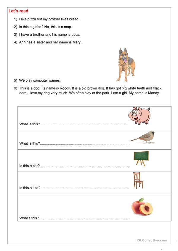 Reading and writing task for beginners
