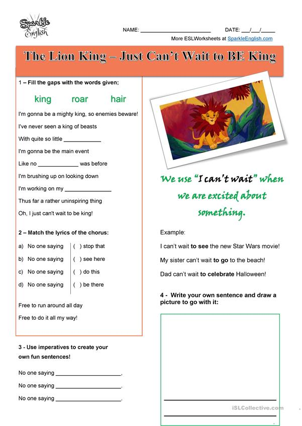 The Lion King Gapfill - Just Can't Wait To Be King Listening and Writing Worksheet