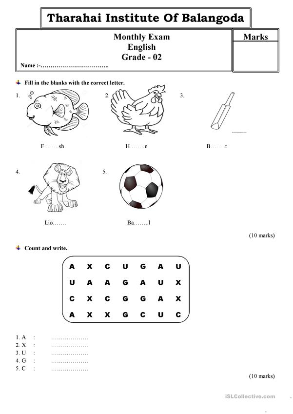 Grade 2 monthly test paper by Tharahai Institution - English ESL
