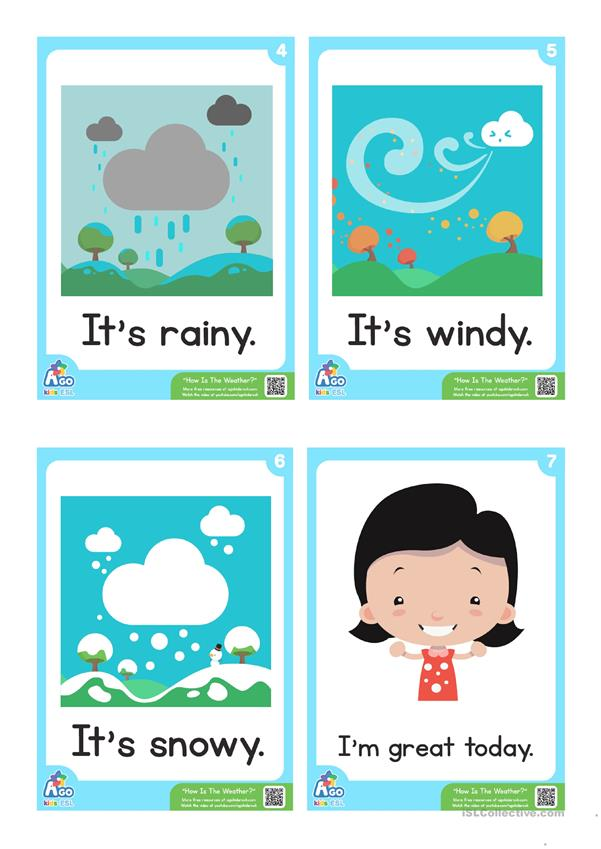 how is the weather esl flashcard set weather and