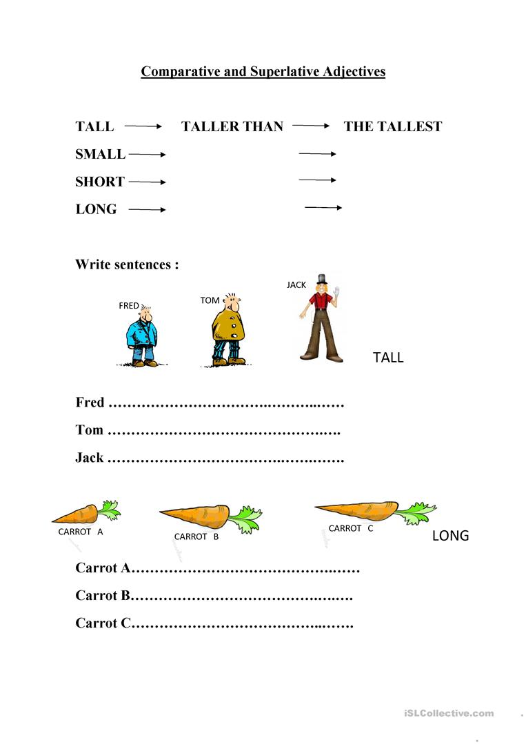 Comparative and Superlative adjectives worksheet - English ...