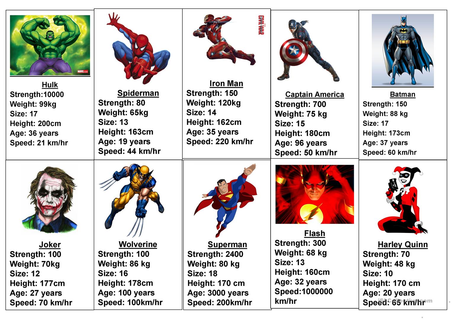 Comparative Superhero Game - English ESL Worksheets for distance learning  and physical classrooms