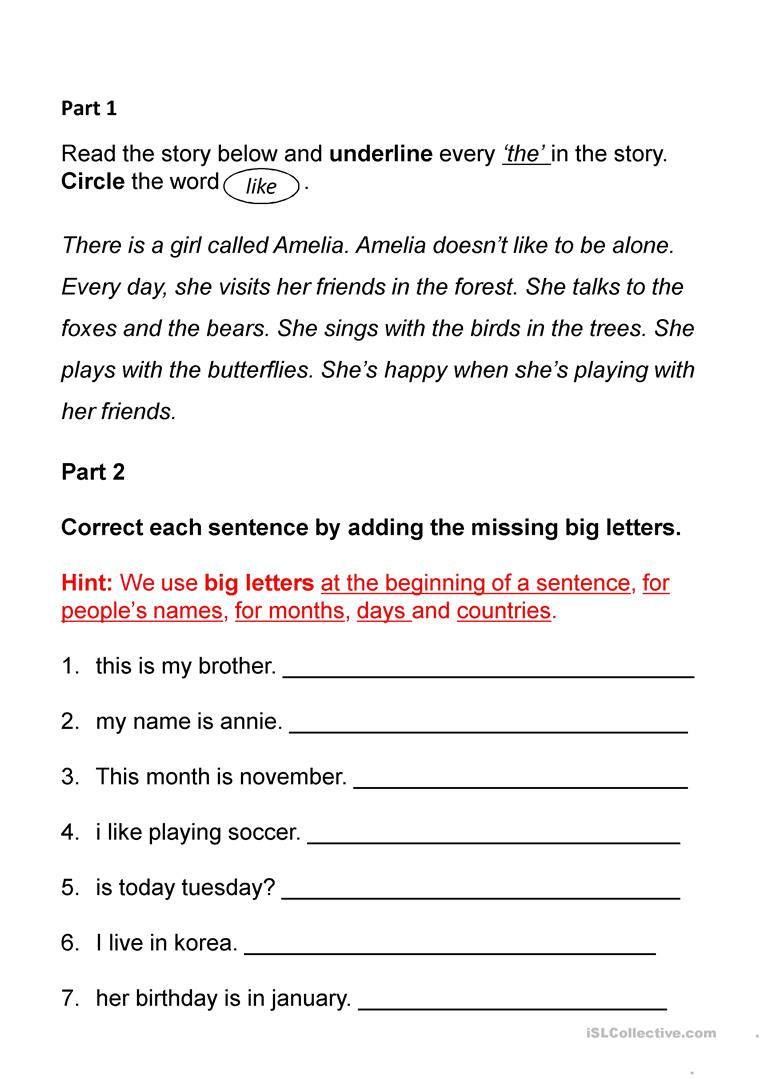 Worksheets Sentence Correction Worksheets sight words and sentence correction worksheet free esl projectable full screen