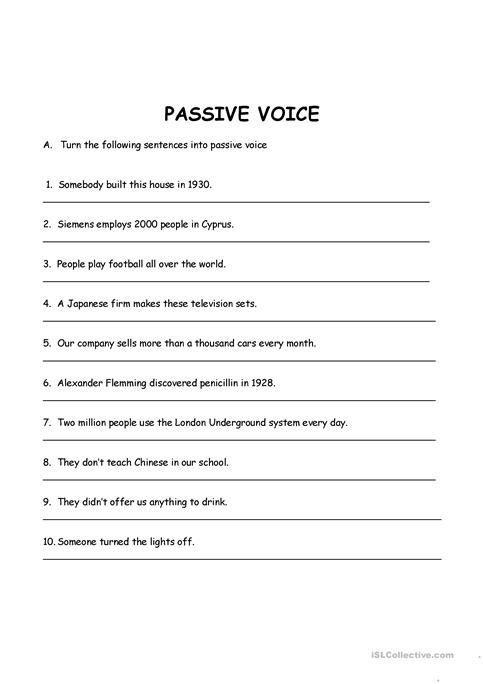 Passive Voice Present Simple And Past Simple Worksheet Free Esl