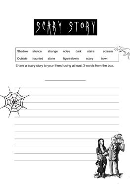 esl scary story worksheets scary story
