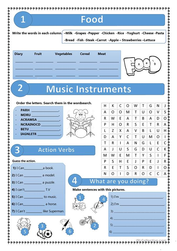 Action Verbs/Music Instruments/Food/Present Continuous