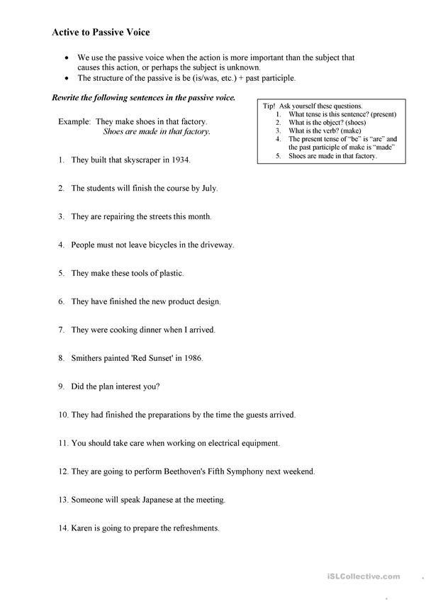 Active to Passive Worksheet