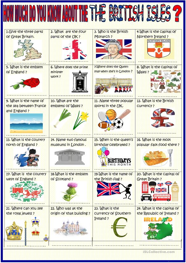 British Isles : 36 question quiz with KEY