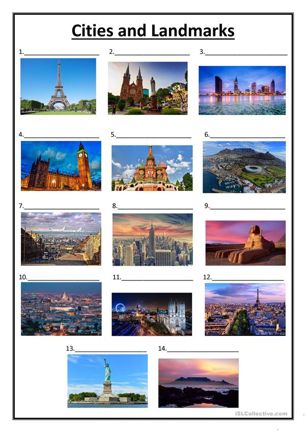 Cities and Landmarks Worksheet