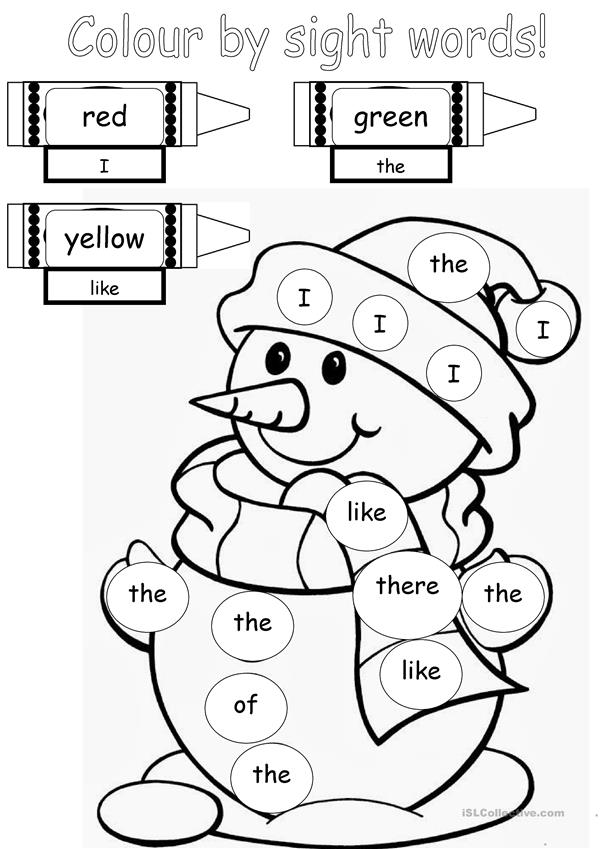 Colour by sight words
