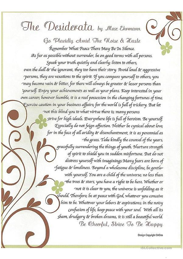 Desiderata - Desired things - ageless words of wisdom
