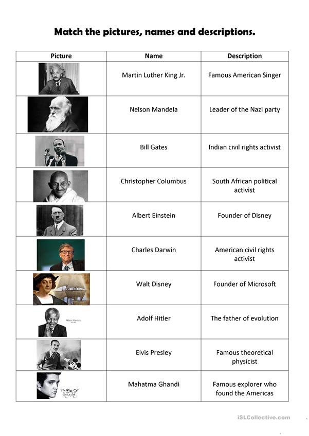 Famous People Matching Worksheet