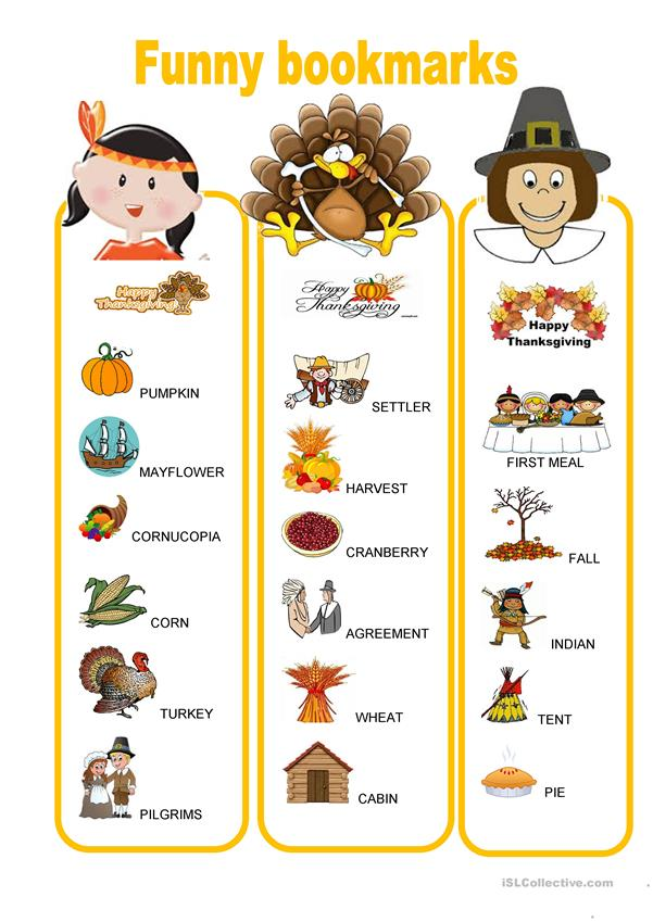Funny bookmarks - Thanksgiving