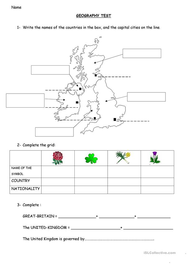Geography: the British Isles, the UK , capitals and symbols
