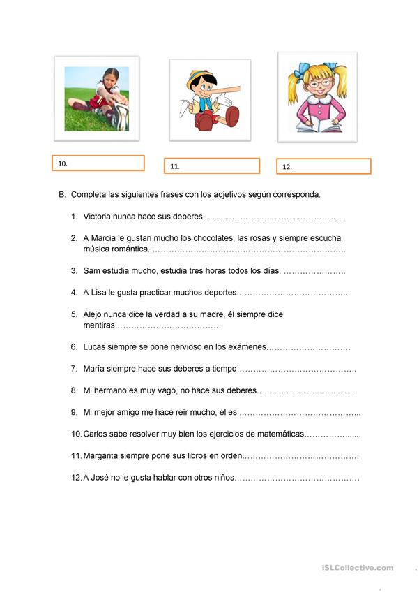 Los adjetivos - English ESL Worksheets