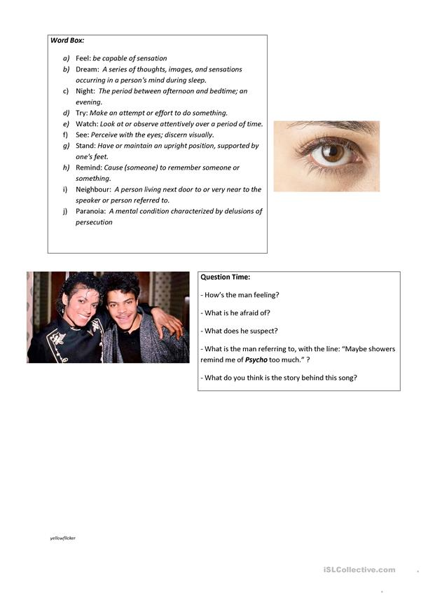 Rockwell ft. Michael Jackson - Somebody's Watching Me Song Worksheet