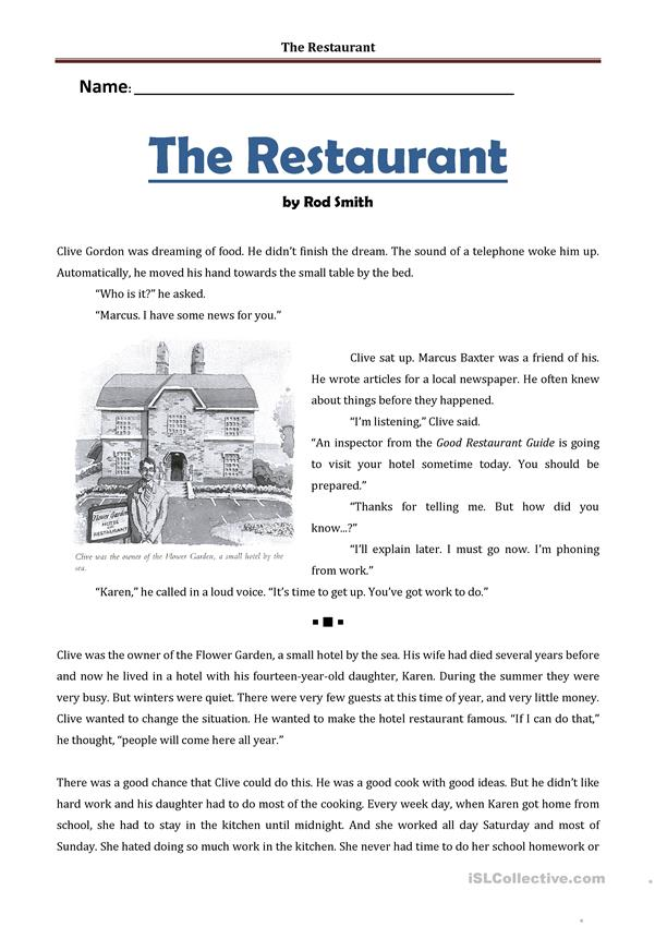 THE RESTAURANT - SHORT STORY AND PRACTICE