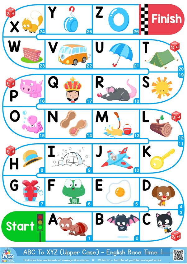 A-Z Upper Case Alphabet - ESL Board Game - English ESL Worksheets For  Distance Learning And Physical Classrooms