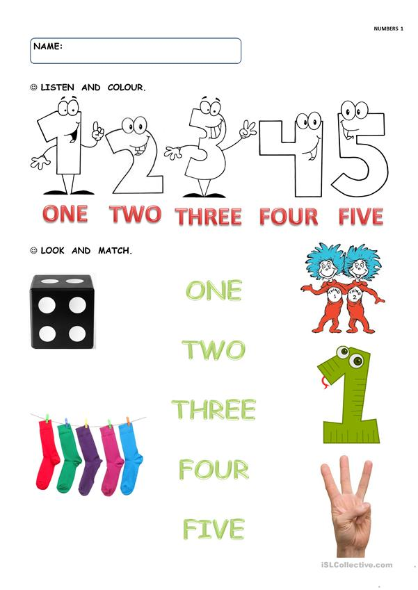 NUMBERS 1 TO 5 - English ESL Worksheets For Distance Learning And Physical  Classrooms