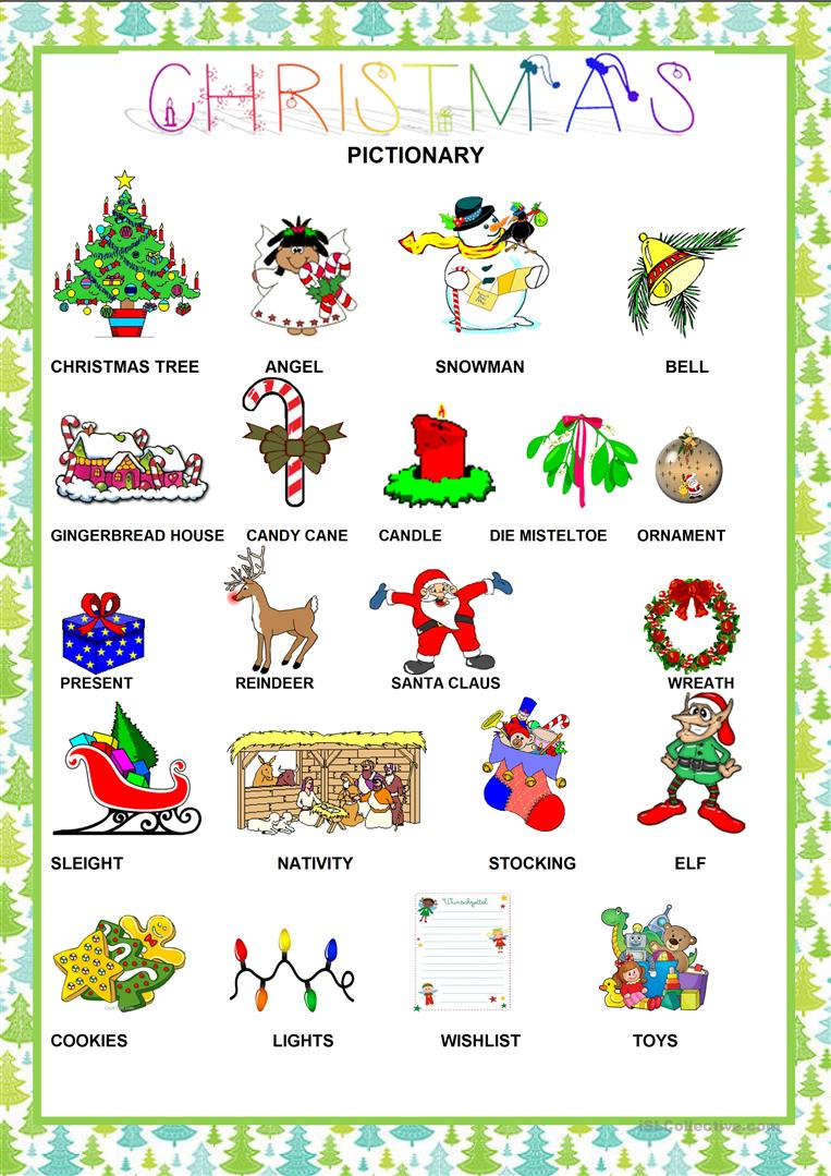 Christmas - Pictionary worksheet