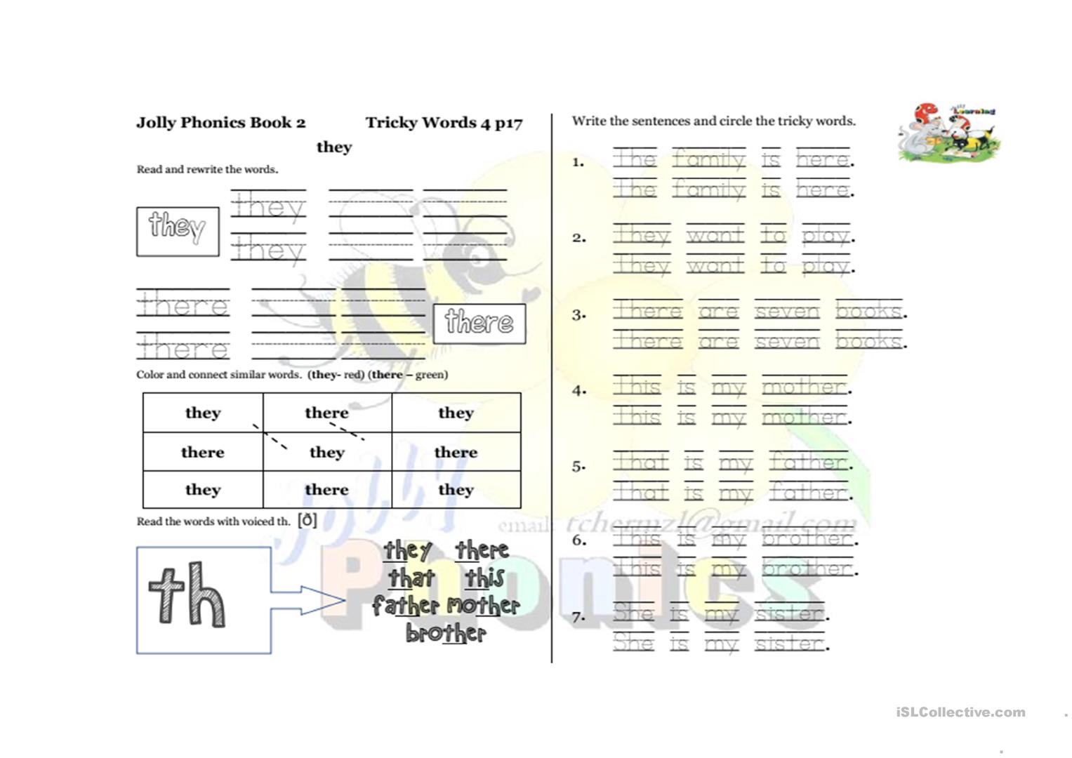 Workbooks jolly phonics workbook 1 free download : Jolly Phonics 2 Tricky words page 17 worksheet - Free ESL ...